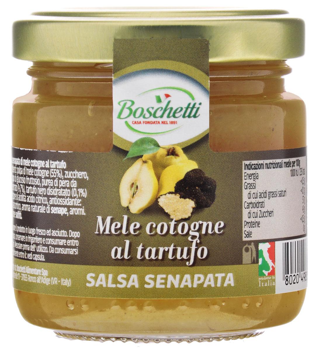 Boschetti Mele cotogne al tartufo соус сальса, 120 гSP#TC35AYBoschetti Mele cotogne al tartufo - классический овощной соус южных стран. Сальсу часто подают в качестве дипа и для добавления к разнообразным блюдам — как овощным, так и мясным.Состав: мякоть айвы (55%), сахар, сироп глюкозы-фруктозы, пюре грушевое концентрированное (4,7%), чёрный трюфель сушёный (0,1%), регулятор кислотности (лимонная кислота), антиокислитель (аскорбиновая кислота), натуральный ароматизатор горчица, ароматизаторы. Содержит сульфиты.