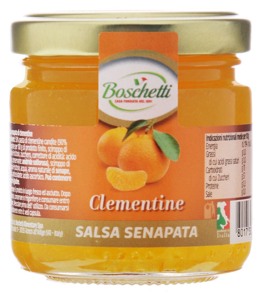 Boschetti Clementine соус сальса, 120 г0120710Горчичный соус Boschetti из мандарина имеет вкус праздника. Об этом позаботились итальянские кулинары, сумевшие добиться грамотного сочетания горчицы и мандарина. Тонкие вкусовые оттенки дополняются аппетитным ароматом. Если же вы цените свое время, то просто используйте Boschetti как наполнитель в тарталетках вместе с сыром или кусочком измельченной ветчины. За очень короткое время у вас получится целое блюдо оригинальных лакомств.Состав: паста мандариновая с сахаром 50% (90% мандарин на 100 г готового продукта: сироп глюкозы-фруктозы, сахар, регулятор кислотности (лимонная кислота), консервант (ангидрид)), сироп глюкозы-фруктозы, вода, натуральный ароматизатор горчица, ароматизаторы, антиокислитель (аскорбиновая кислота). Может содержать клейковину.