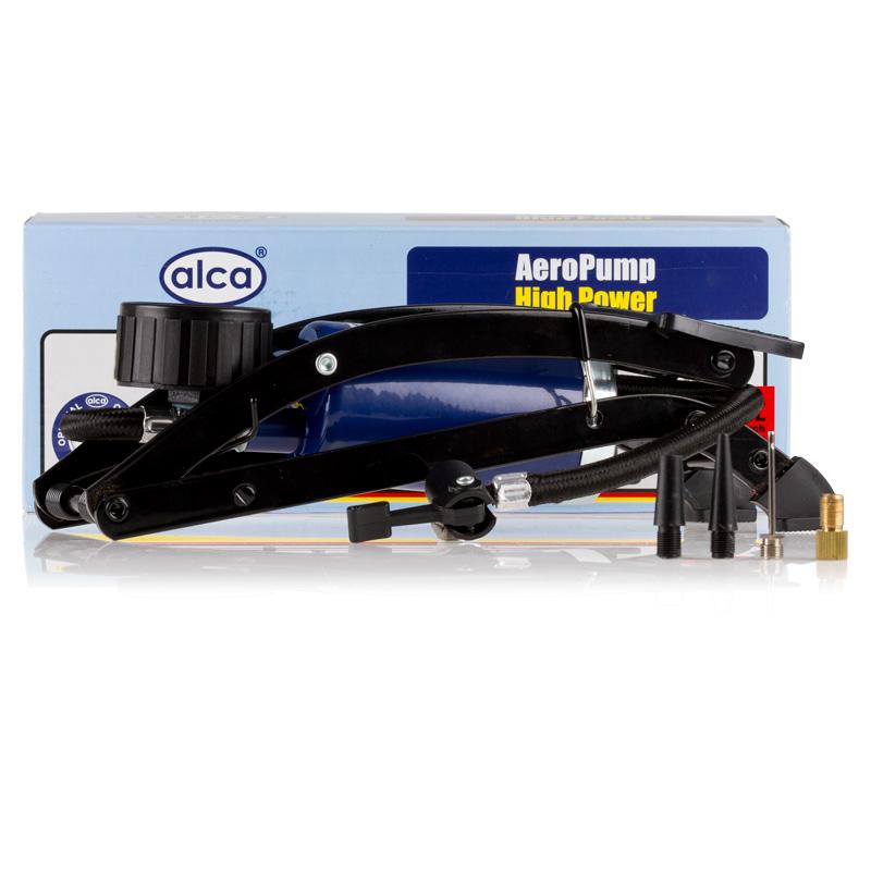 Насос ножной Alca, одинарный, с манометромAL-300Насос ножной один цилиндр 7 бар, с манометром,шланг 45 см., 4 адаптера для накачки шин автомобилей, мячей, велосипедов и т.д.