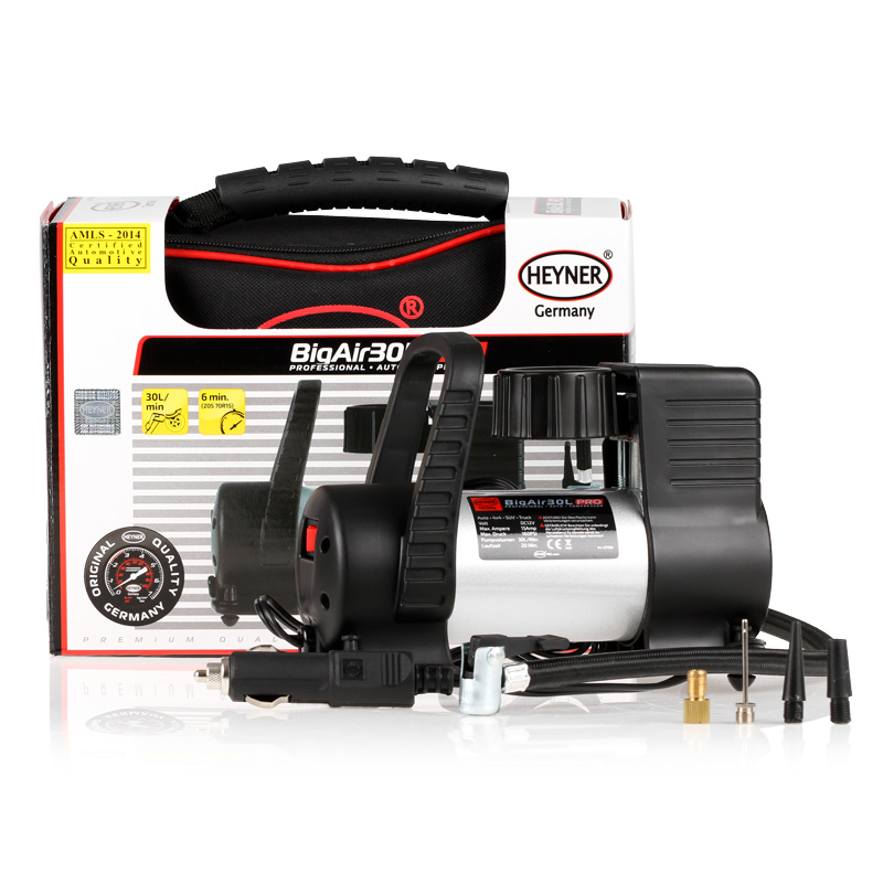 Автомобильный компрессор Heyner Big Air Премиум. 237500AL-500Компрессор Big Air Премиум 12В, 180 W, 11бар,30л/мин. Идеален для микроавтобусов и джипов. Скорость заполнения шин 205 70R15 около 6 минут. В комплекте сумка и 4 адаптора.