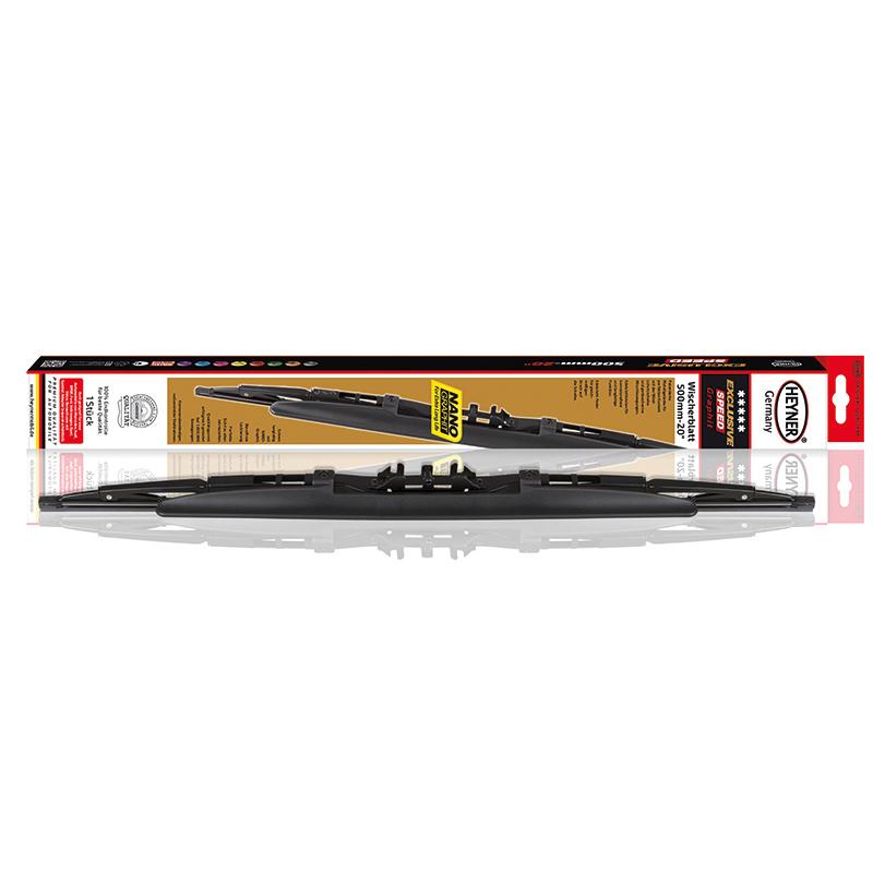 Щетка стеклоочистителя Heyner Exclusive, со спойлером, 50 см, 1 штIRK-503Щетка стеклоочистителя Heyner Exclusive со спойлером может применяться в любое время года. Оцинкованный, усиленный, сплошной стальной каркас снабжен шарнирами из высококачественной стали. Резиновые части выполнены из 100% натурального каучука. Адаптеры входят в комплект.