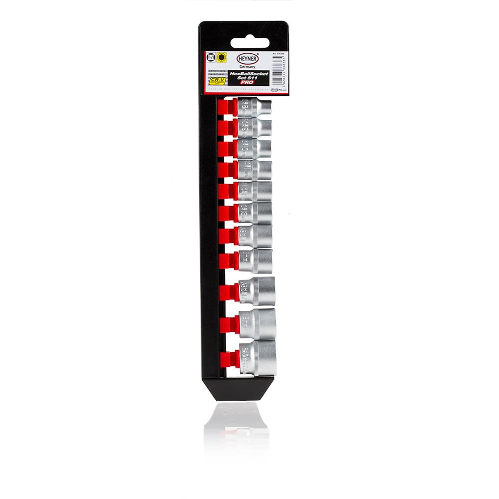 Набор головок Heyner, 3/8, 11 шт80621Набор головок 3/8, 11 шт. 8-9-10-11-12-13-14-15-17-19-22 мм. Хром-ванадиевая качественная сталь.