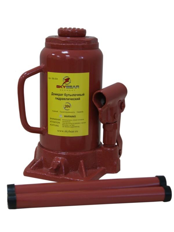 Домкрат бутылочный Skybear, гидравлический, 20 т. 412010 домкрат гидравлический бутылочный skybear 6т  410610