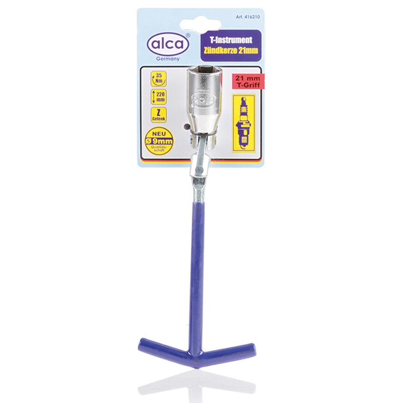 Ключ свечной Alca, 21 мм98298130Свечной ключ Alca служит для замены свечей зажигания бензиновых двигателей внутреннего сгорания. Т-образная рукоятка обеспечивает удобство при работе с инструментом. Ключ имеет Z-образный шарнир.Длина ключа: 22 см.Головка: 21 мм.Крутящий момент: 35 Nm.