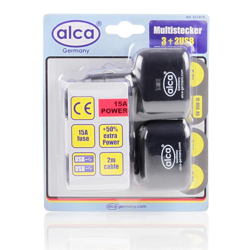 Розетка прикуривателя на 3 выхода Alca, 12V+2 USB 5VPH6514Розетка прикурив на 3 многофункциональных выхода 12V+2 выхода USB 5V Предохранитель 15А Удлинитель 2 м, контрольная подсветка. Корпус из термостойкого материала.