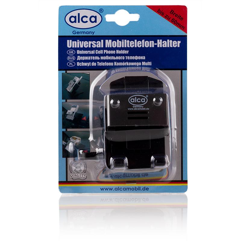 Держатель для телефона Alca, раздвижнойAGR-35Изделие Alca применяется для фиксации технического устройства в салоне автомобиля во время движения авто.Может устанавливаться на панель или на решетки печки. Корпус держателя раздвигается до 60 мм.