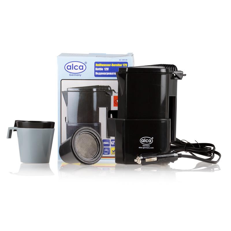 Автокофеварка Alca, 12 В542120Компактная автомобильная кофеварка Alca предназначена для приготовления горячих напитков в дороге. Корпус изделия выполнен из прочного пластика. Компактные размеры позволяют брать с собой кофеварку в дорогу. Она разогревают воду за 15-20 минут. В комплекте 2 стакана и фильтр для чая или кофе.Мощность: 120 Вт.Объем кофеварки: 400 мл.Напряжение: 12 В.