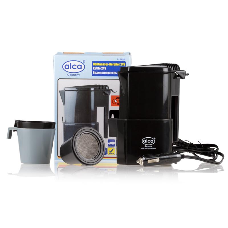 Автокофеварка Alca, 24 ВTF-14AU-12Компактная автомобильная кофеварка Alca предназначена для приготовления горячих напитков в дороге. Корпус изделия выполнен из прочного пластика. Компактные размеры позволяют брать с собой кофеварку в дорогу. Она разогревают воду за 15-20 минут. В комплекте 2 стакана и фильтр для чая или кофе.Мощность: 120 Вт.Объем кофеварки: 400 мл.Напряжение: 24 В.