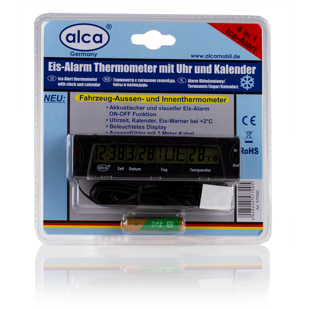 Термометр автомобильный Alca, с сигналом гололеда, часами и календаремCA-3505Автомобильный термометр Alca включает в себя функцию сигнала гололеда, часы и календарь. Индикатор и звуковое предупреждение сообщат вам об обледенении от +2 градусов. Наружный датчик оснащен кабелем длиной 3 м.Питается от 1 батареи типа ААА (входит в комплект).Показание с переключением: 12 ч/24 ч, °C/°F.