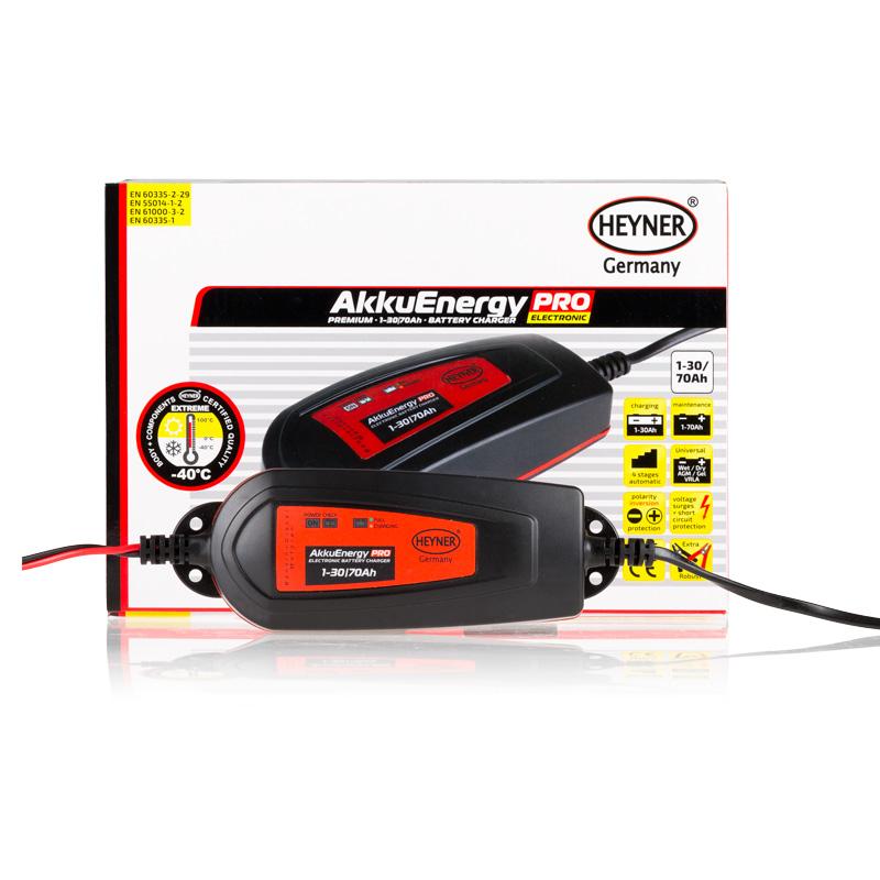 Мобильное зарядное устройство Heyner AkkuEnergy PRO для АКБ 1-30 Ah 12VBH-UN0502( R)Мобильное зарядное устройство AkkuEnergy PRO для кислотных АКБ 1-30 Ah. Процесс зарядки управляется микропроцессором. 4 ступенчатый процеc зарядки. Поддерживает АКБ емкостью от 1-70 Ah в рабочем состоянии в преиод когда АКБ находится на хранении. Ток зарядки импульсный. Защита от обратной полярности, короткого замыкания прегрева и импульсных перенапряжений. Копус изготовлен из прочного пластика (IP65)