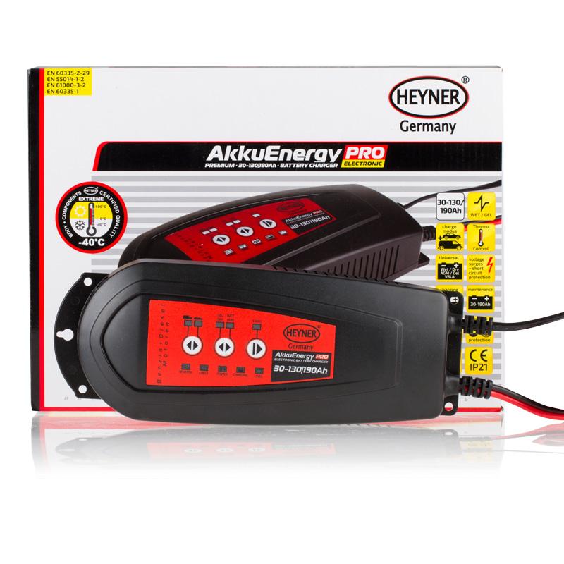 Мобильное зарядное устройство Heyner AkkuEnergy PRO, для АКБ 30-130 Ah 12V98291117Мобильное зарядное устройство Heyner AkkuEnergy PRO предназначено для кислотных автомобильных аккумуляторных батарей 30-130 Ah. 7-ступенчатый процесс зарядки управляется микропроцессором. Поддерживает АКБ емкостью от 30-190 Ah в рабочем состоянии в период, когда АКБ находится на хранении. Ток зарядки импульсный. Защита от обратной полярности, короткого замыкания, перегрева и импульсных перенапряжений. Корпус изготовлен из прочного пластика (защита IP21).