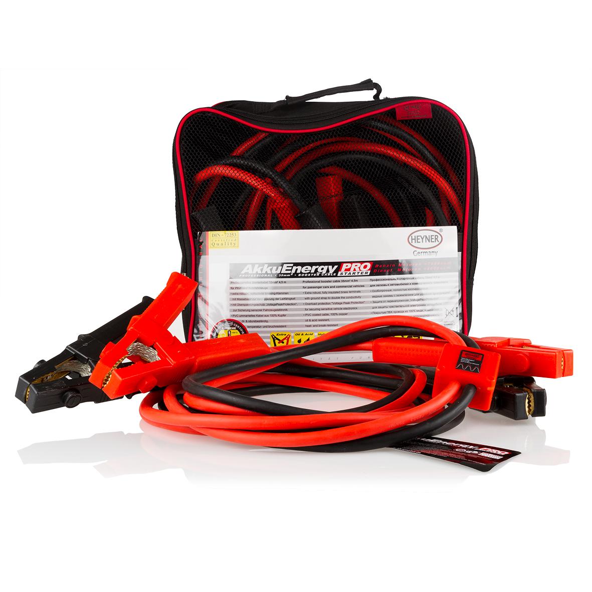 Старт-кабель Heyner AkkuEnergy, диаметр 25 мм, длина 3,5 мVolter K2Старт-кабель Heyner AkkuEnergy выполнен из меди и снабжен ударопрочной, морозоустойчивой оплеткой, обладающей стойкостью к маслам и кислотам. Особо прочные, полностью изолированные медные зажимы с заземлением предназначены для удвоения проводимости. Защита от перегрузки VoltagePeakProtection гарантирует защиту чувствительной электроники автомобиля.