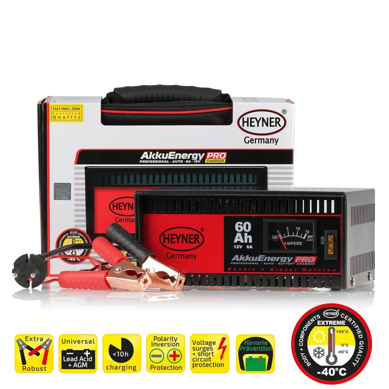 Зарядное устройство Heyner, 6 А, 15-60 Ач, 12ВSpiraler L, BlackЗарядное устройство Heyner предназначено для АКБ емкостью 15-60 Ач 12В. Изделие имеет гарантированную работоспособность при -40°С. Универсальные клеммы подходят для всех аккумуляторов. Устройство защищено от перегрузок, от обратного тока и от короткого замыкания. Переключатель стандарт/быстрый заряд. Предназначен для кислотных АКБ и АКБ стандарта AGM. Удобная сумка для хранения и перевозки в комплекте.Емкость: 15-60 Ач.Ток: 6 А.Напряжение: 12В.