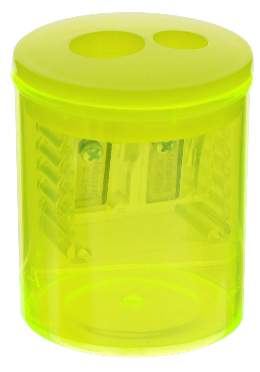 Herlitz Точилка-бочонок с 2 отверстиями цвет желтый72523WDТочилка-бочонок с 2 отверстиями Herlitz, выполненная из пластика с прозрачным пластиковым корпусом предназначена для заточки карандашей диаметром 8 мм и 11 мм. Точилка снабжена металлическими лезвиями высокого качества. Имеется контейнер для стружки.