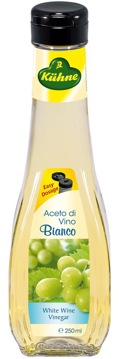 Kuhne Aceto di Vino Bianco уксус 6% из белого вина, 250 мл1093Уксус Kuhne Aceto di Vino Bianco производится из сухого белого вина и используется в составе многих блюд средиземноморской кухни. Винный уксус очень хорош в соусах, а также им можно заменять белое вино при приготовлении различных лакомств.Его легкий аромат и тонкий вкус украсят практически любое блюдо – шашлык и маринованную рыбу, блюда из курицы и такое красивое сочетание, как овощной салат с сыром и виноградом. С винным уксусом хорошо сочетаются многие пряности: перец, горчица, майоран.