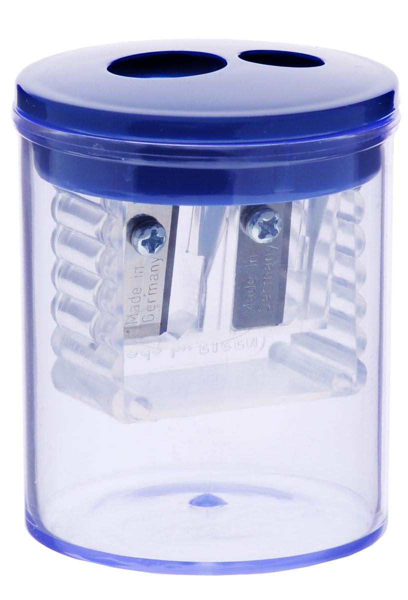 Herlitz Точилка-бочонок с 2 отверстиями цвет синий8680100_синийТочилка-бочонок с 2 отверстиями Herlitz, выполненная из пластика с прозрачным пластиковым корпусом предназначена для заточки карандашей диаметром 8 мм и 11 мм. Точилка снабжена металлическими лезвиями высокого качества. Имеется контейнер для стружки.