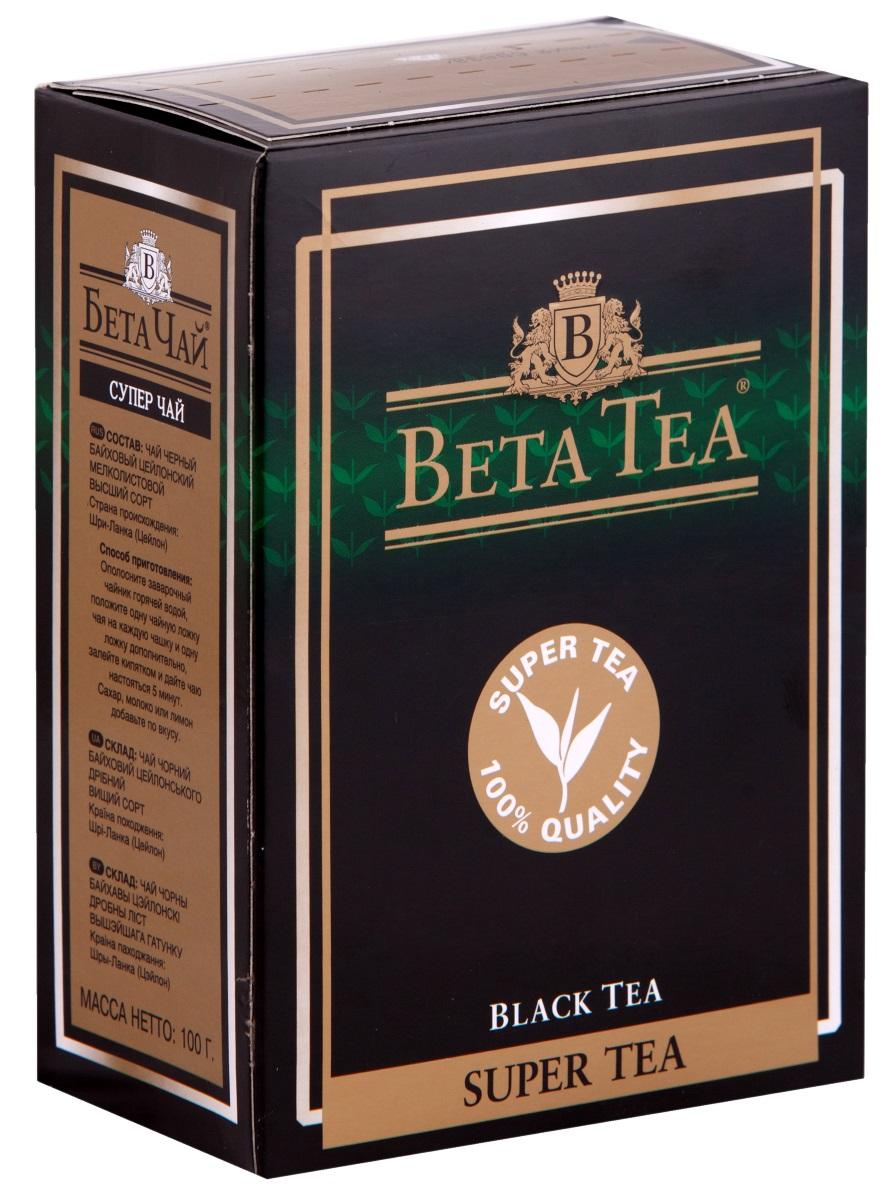 Beta Tea Super Tea черный листовой чай, 100 г0120710Мелколистовой чай Beta Tea Super Tea с лучших плантаций Цейлона подарит вам блаженство и умиротворение. Насладитесь крепостью и ароматом этого изящного сорта чая.