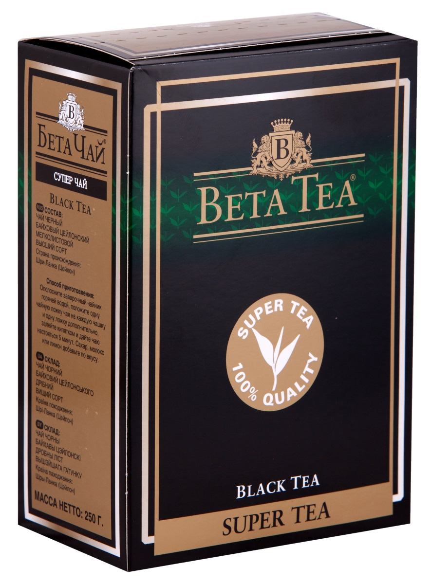 Beta Tea Super Tea черный листовой чай, 250 гTTL-BCE-202Мелколистовой чай Beta Tea Super Tea с лучших плантаций Цейлона подарит вам блаженство и умиротворение. Насладитесь крепостью и ароматом этого изящного сорта чая.
