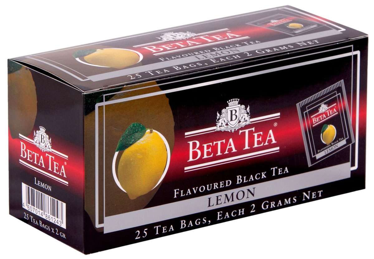 Beta Tea Лимон чай в пакетиках, 25 шт13090Бета Лимон содержит в себе неповторимый аромат лимона, что придает чаю изысканный вкус. Этот чай, собранный с самых лучших плантаций Цейлона, производится в экологически чистых условиях при помощи современных технологий.
