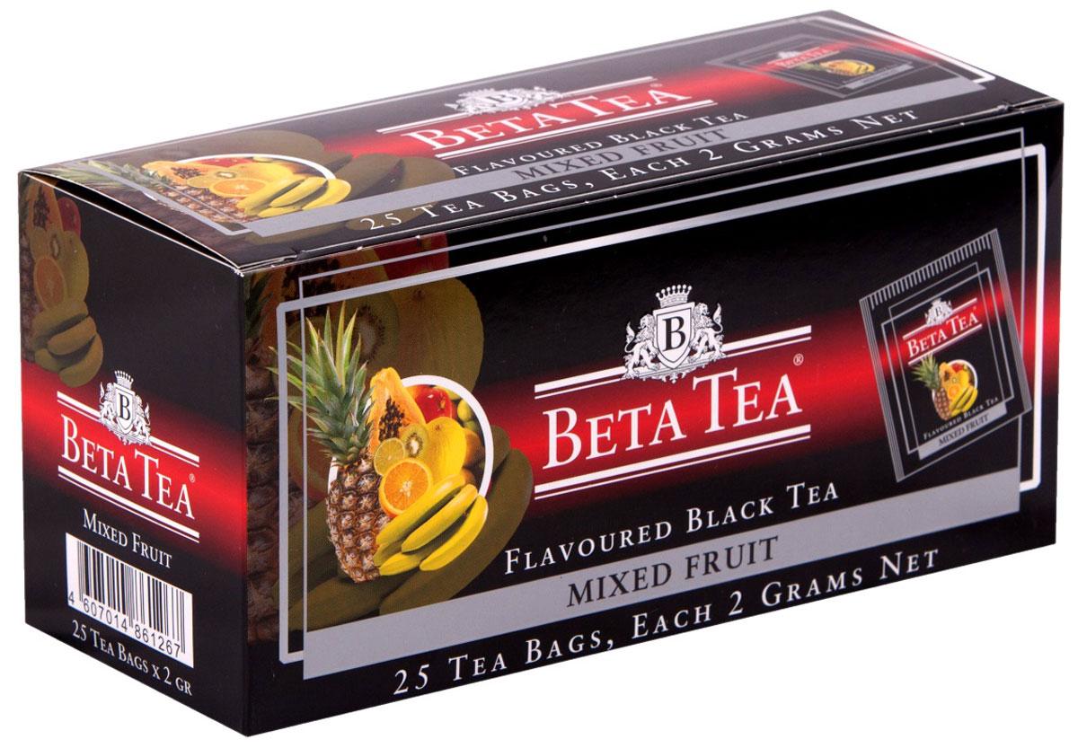 Beta Tea Мультифруктовый чай в пакетиках, 25 шт101246Бета Мультифрукт с неповторимым вкусом в сочетании с фруктовым ароматом доставит удовольствие всем любителям чая. В его состав входит смесь лучших сортов из Индии, Цейлона и Кении.