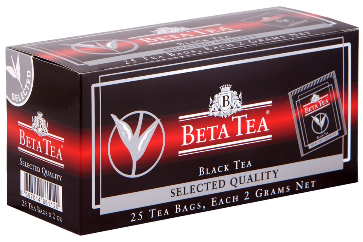 Beta Tea Отборное качество черный чай в пакетиках, 25 шт0120710Этот сорт чая поставляют лучшие чайные плантации Шри-Ланки. Любители крепкого чая с терпким вкусом по достоинству оценят Beta Tea Отборное качество.