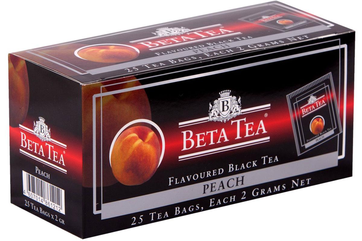 Beta Tea Персик ароматизированный чай в пакетиках, 25 шт1305-3Beta Tea Персик содержит в себе неповторимый персиковый аромат, что придает чаю изысканный вкус. Этот чай, собранный с самых лучших плантаций Цейлона, производится в экологически чистых условиях при помощи современных технологий.