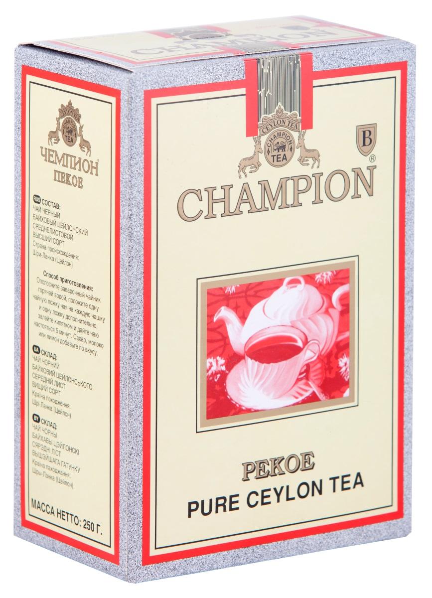 Champion Пеко черный листовой чай, 250 г0120710Чай Champion Пеко с богатым вкусом, прозрачным и золотистым цветом дает возможность любителям чая оценить настоящий вкус напитка. Чай этого сорта выращивается на плантациях Шри-Ланки. При его создании используется особая технология скручивания чайных листочков. Сочный насыщенный цвет, богатый аромат и терпкость - его отличительные характеристики.