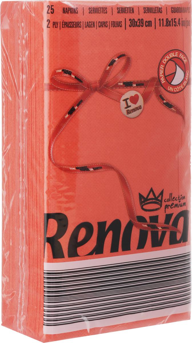 Салфетки бумажные Renova, двуслойные, цвет: красный, 25 штIRK-503Двухслойные салфетки Renova выполнены из натуральной целлюлозы. Они отличается необыкновенной мягкостью и прочностью. Салфетки выполнены в ярком цвете. С такими салфетками каждый ужин станет особенным. Ужеаккуратно сложенные и готовые к трапезе. Размер салфетки: 39 х 30 см.