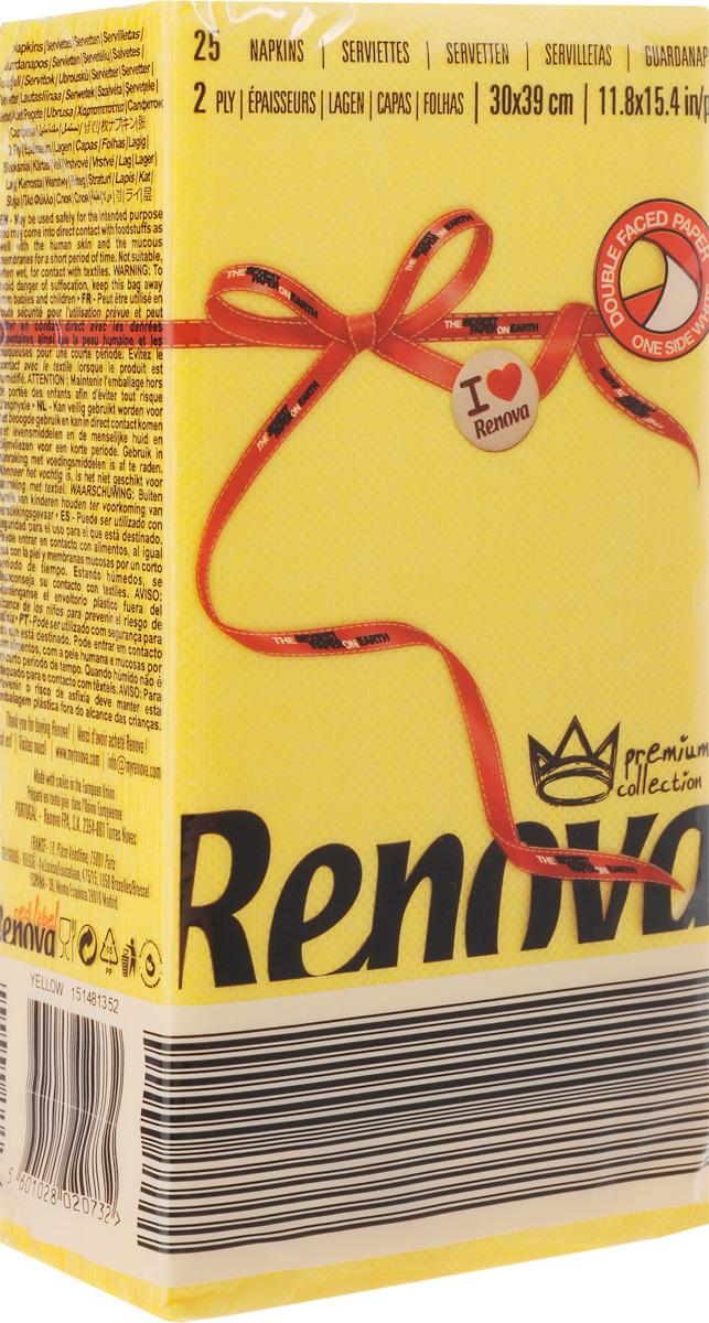 Салфетки бумажные Renova, двуслойные, цвет: желтый, 25 шт19201Двухслойные салфетки Renova выполнены из натуральной целлюлозы. Они отличается необыкновенной мягкостью и прочностью. Салфетки выполнены в ярком цвете. С такими салфетками каждый ужин станет особенным. Уже аккуратно сложенные и готовые к трапезе. Размер салфетки: 39 х 30 см.