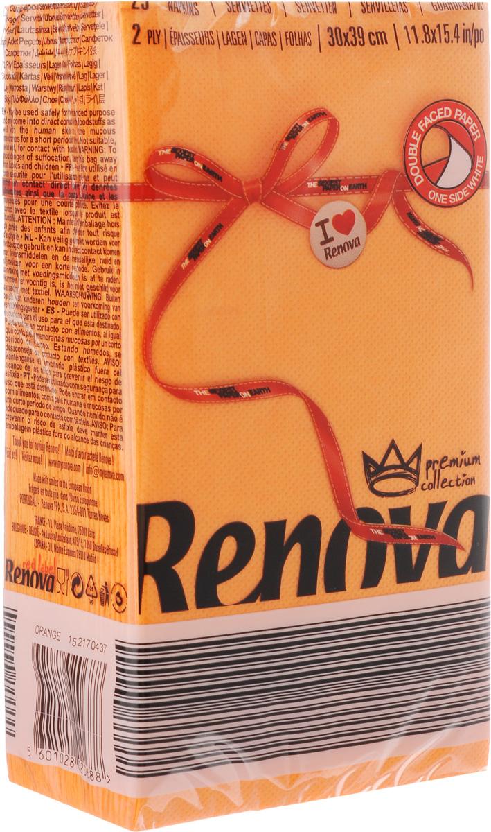 Салфетки бумажные Renova, двуслойные, цвет: оранжевый, 25 штFT722Двухслойные салфетки Renova выполнены из натуральной целлюлозы. Они отличается необыкновенной мягкостью и прочностью. Салфетки выполнены в ярком цвете. С такими салфетками каждый ужин станет особенным. Ужеаккуратно сложенные и готовые к трапезе. Размер салфетки: 39 х 30 см.