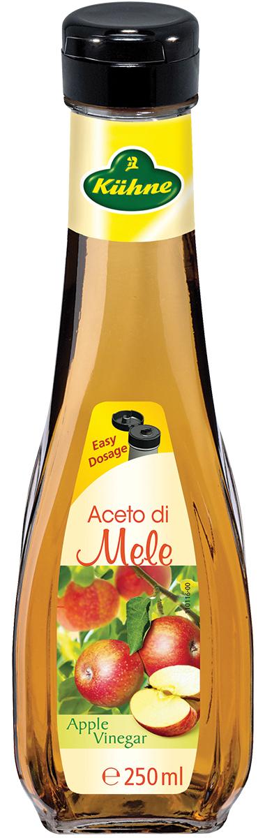 Kuhne Aceto di Mele уксус 5% яблочный, 250 мл0120710Натуральный уксус Kuhne Aceto di Mele производится из яблочного вина методом натурального брожения. Продукт имеет мягкий вкус и прекрасно усваивается. Уксус послужит прекрасным дополнением при приготовлении блюд из мяса, рыбы, а также всевозможной выпечки.