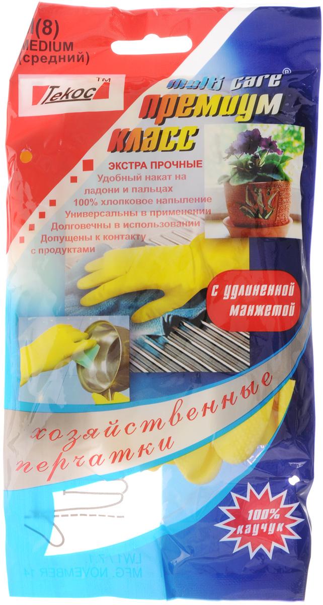 Перчатки хозяйственные Текос Премиум. Размер М391602Универсальные перчатки Текос Премиум, произведены из высококачественного латекса с хлопковым напылением, рифленая поверхность позволяет удерживать мокрые предметы. Перчатки подходят для различных видов домашних работ. Допускаются с контактом с продуктами. Изделия эластичны, хорошо облегают руку.