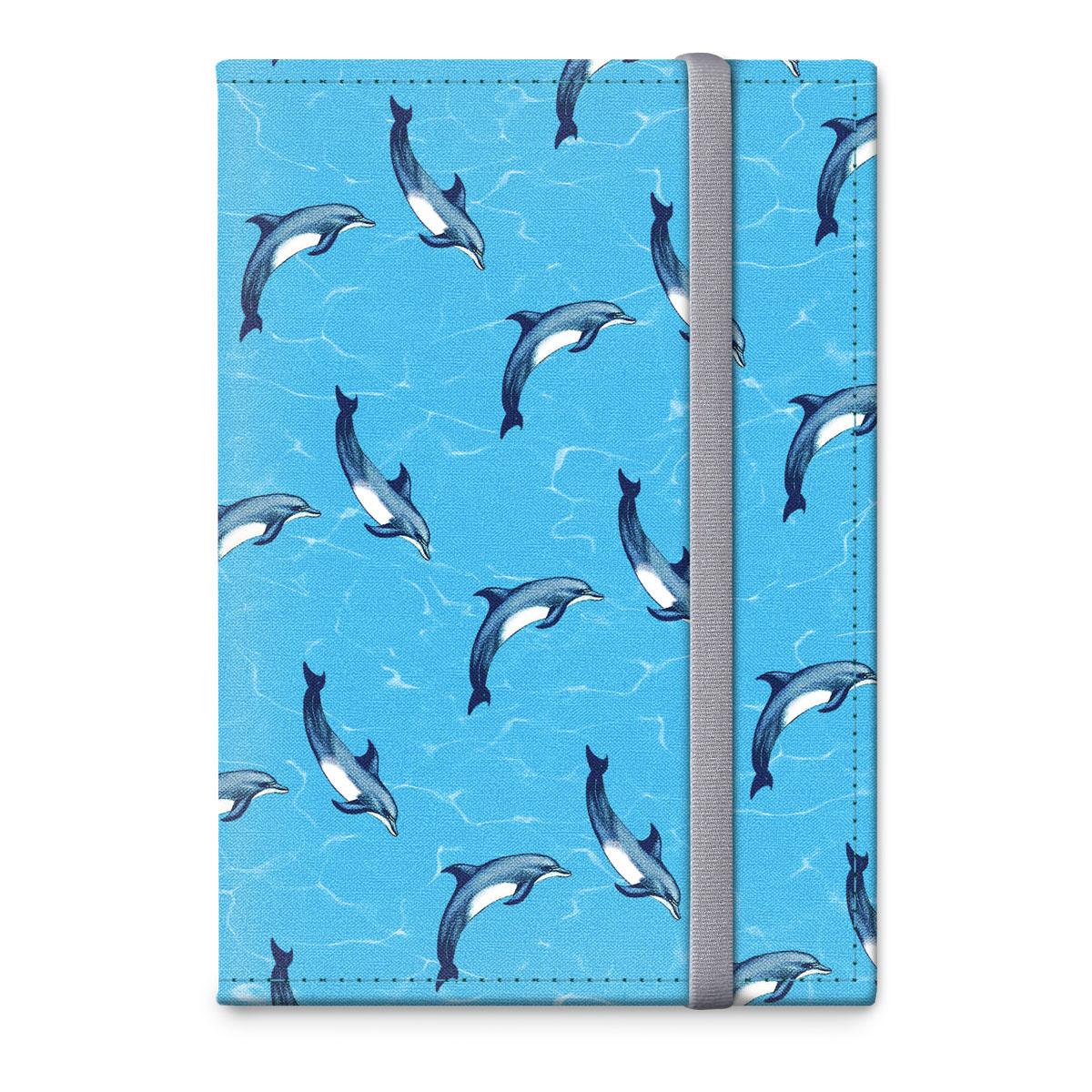 Обложка для паспорта ОРЗ-дизайн Дельфины, цвет: голубой, черный. Орз-03143430329Обложка на паспорт текстильная с авторским принтом