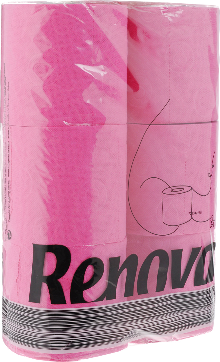 Туалетная бумага Renova  Color , трехслойная, ароматизированная, цвет: фуксия, 6 рулонов - Полезные аксессуары