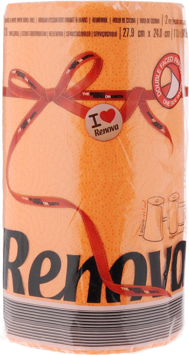 Полотенца бумажные Renova Red Label, двухслойные, цвет: оранжевый, 120 штRC-100BPCДвухслойные бумажные полотенца Renova Red Label, выполненные из натуральной целлюлозы, помогут обеспечить порядок и привнесут оригинальность в интерьер вашей кухни. Они способны поглощать большое количество жидкости, при этом оставаясь прочными и не разрываясь. Бумажные полотенца Renova Red Label совмещают в себе дизайн и текстуру, создавая возвышенную эстетику. Количество рулонов: 1 шт. Количество слоев: 2. Количество листов в рулоне: 120 шт.Размер листа: 27,9 х 24 см.