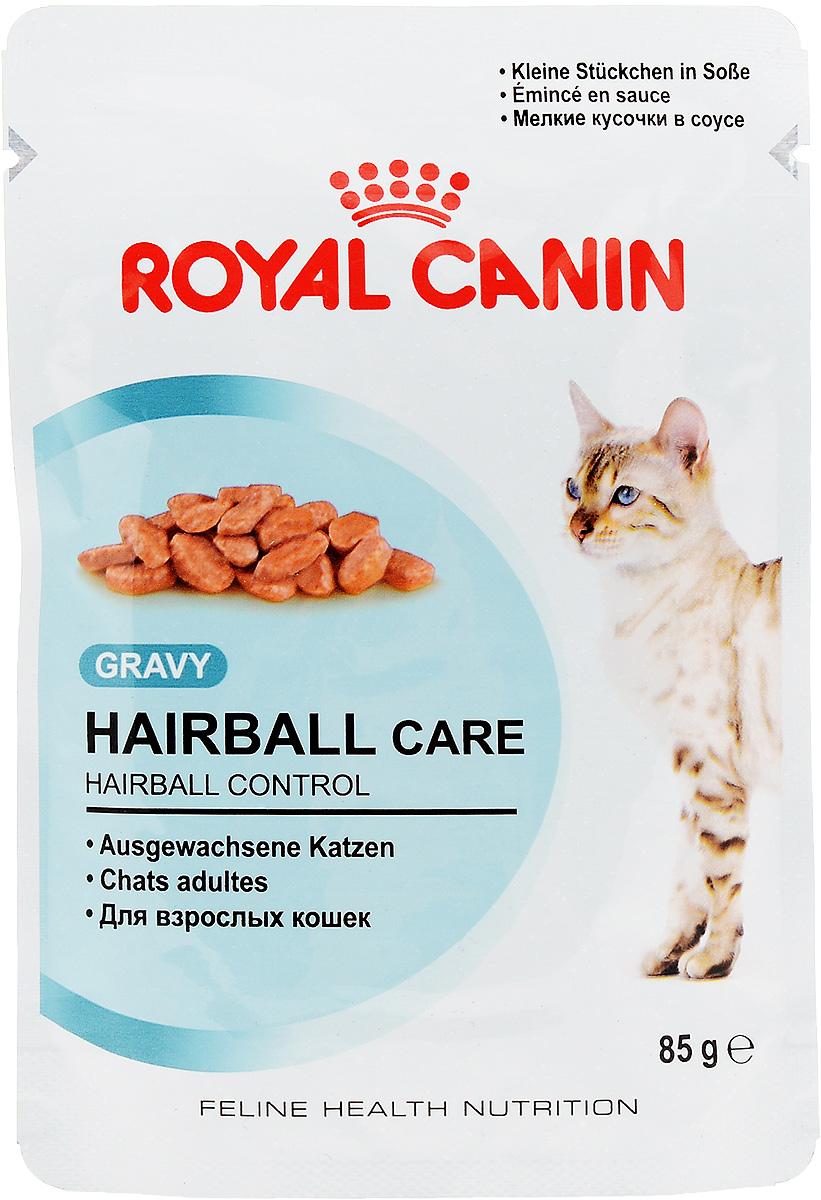 Консервы Royal Canin Hairball Care, для взрослых кошек, мелкие кусочки в соусе, 85 г24Консервы Royal Canin Hairball Care, специально созданные для взрослых кошек, способствуют выведению волосяных комочков. Кошки уделяют очень много времени уходу за шерстью. Они спонтанно проглатывают большое количество выпавшей шерсти, которая имеет тенденцию скапливаться в желудочно-кишечном тракте, формируя волосяные комочки. Часто это приводит к рвоте или чувству дискомфорта в кишечнике. Hairball Care - тщательно сбалансированная формула, помогающая естественным образом снизить риск образования волосяных комочков. Эксклюзивный комплекс, включающий комбинацию различных видов пищевой клетчатки, в том числе семя подорожника Psyllium, богатое растительной слизью, а также нерастворимую клетчатку, способствует стимуляции кишечного транзита. В результате проглоченная шерсть не скапливается в желудке и не отрыгивается, а регулярно выводится с фекалиями через кишечник.Баланс минеральных веществ продукта поддерживает здоровье мочевыводящих путей взрослой кошки. Состав: мясо и мясные субпродукты, злаки, субпродукты растительного происхождения, экстракты белков растительного происхождения, масла и жиры, минеральные вещества, углеводы, дрожжи. Добавки (в 1 кг): Витамин D3: 82 ME, Железо: 3 мг, Йод: 0,12 мг, Марганец: 1 мг, Цинк: 10 мг..Товар сертифицирован. Уважаемые клиенты!Обращаем ваше внимание на возможные изменения в дизайне упаковки. Качественные характеристики товара остаются неизменными. Поставка осуществляется в зависимости от наличия на складе.