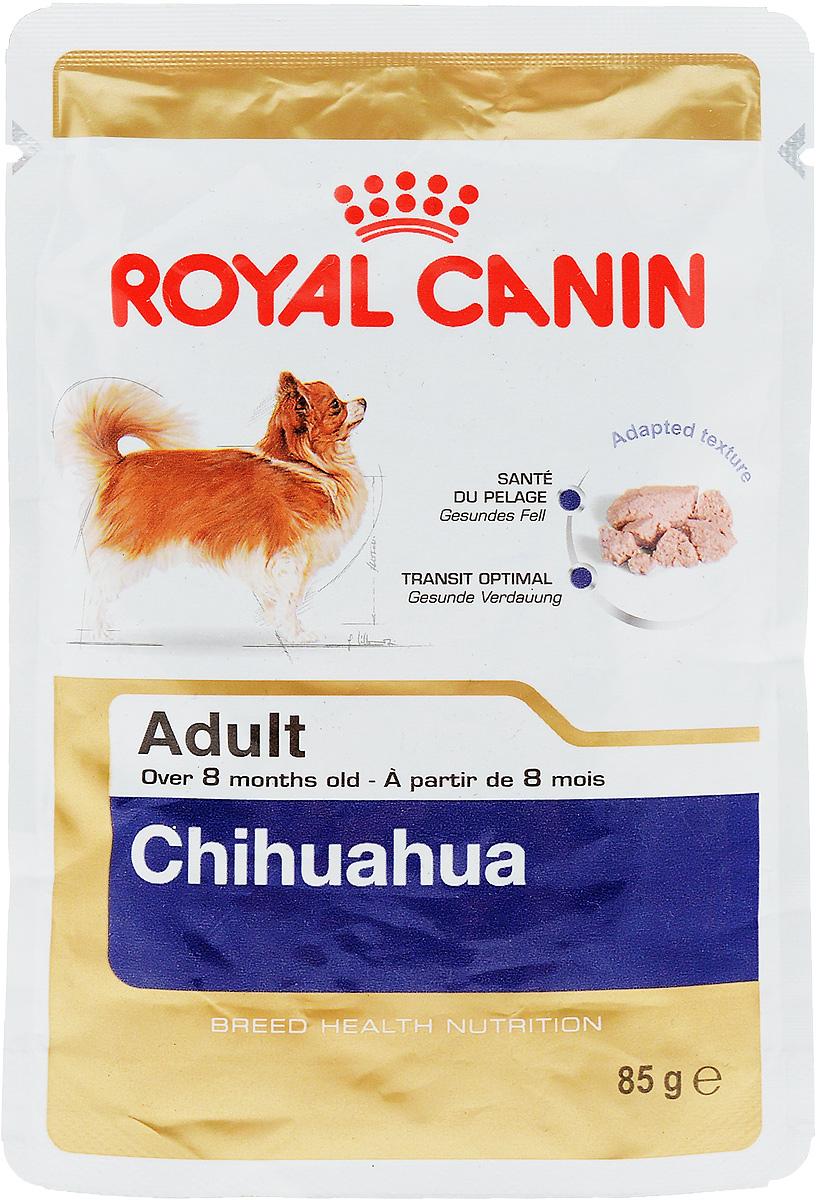 Консервы Royal Canin Chihuahua Adult, для собак породы чихуахуа в возрасте старше 8 месяцев, паштет, 85 г60619Консервы Royal Canin  Chihuahua Adult специально созданы для собак чихуахуа в возрасте старше 8 месяцев. Высокая вкусовая привлекательность. Стимулирует аппетит даже у самых разборчивых чихуахуа, благодаря отборным натуральным ароматизаторам и специальной адаптированной текстурой.Оптимальная работа пищеварительной системы. Корм способствует поддержанию здоровья пищеварительной системы.Здоровье кожи и шерсти. Продукт содержит питательные вещества, которые помогают поддерживать идеальное состояние кожи и шерсти.Состав: мясо и мясные субпродукты, злаки, субпродукты растительного происхождения, масла и жиры, минеральные вещества, углеводы. Добавки (в 1 кг): Витамин D3: 179 ME, Железо: 27 мг, Йод: 0,16 мг, Марганец: 8,4 мг, Цинк: 84 мг.Товар сертифицирован.