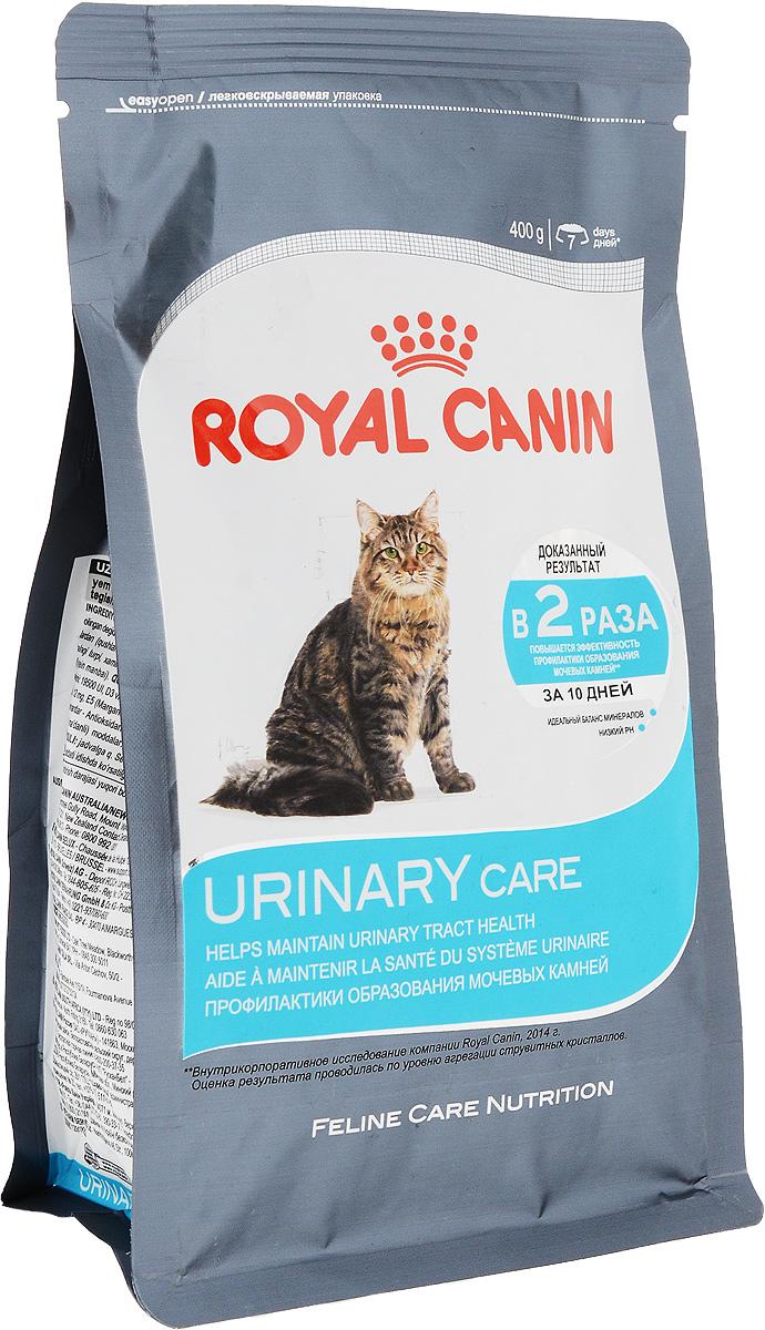 """Корм сухой Royal Canin Urinary Care, для взрослых кошек, 400 г0120710Сухой корм Royal Canin Urinary Care специально создан для профилактики камней в мочевыводящих путях у взрослых кошек.Кристаллы могут образовываться даже в моче здоровых кошек. Некоторые факторы, в том числе уровень рН мочи, повышают риск превращения кристаллов в камни. Правильное питание помогает снизить интенсивность образования кристаллов в моче.Urinary Care"""" - тщательно сбалансированная формула, способствующая поддержанию здоровья мочевыводящих путей. Доказана эффективность продукта, в частности, против образования кристаллов струвита. Рекомендации: побуждайте кошку пить как можно больше воды. Таким образом увеличивается суточный объем отделяемой мочи и снижается ее концентрация, что благоприятно для здоровья мочевыводящих путей. Если у вас есть какие-либо вопросы относительно здоровья мочевыводящих путей вашей кошки, обратитесь к ветеринарному врачу. Состав: злаки, дегидратированные белки животного происхождения (птица), рис, изолят растительных белков L.I.P., пшеница, растительная клетчатка, животные жиры, гидролизатбелков животного происхождения, свекольный жом, минеральные вещества, рыбий жир, соевое масло, дрожжи, экстракт бархатцев прямостоячих.Добавки (в 1 кг): витамин A - 19500 ME, витамин D3 - 700 ME, железо - 38 мг, йод - 3,9 мг, марганец - 50 мг, цинк - 150 мг, сeлeн - 0,07 мг. Товар сертифицирован.Уважаемые клиенты! Обращаем ваше внимание на возможные изменения в дизайне упаковки. Качественные характеристики товара остаются неизменными. Поставка осуществляется в зависимости от наличия на складе."""