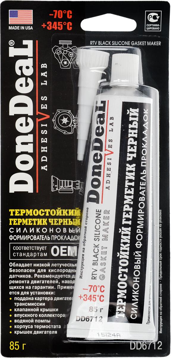 Герметик термостойкий Done Deal, силиконовый, цвет: черный, 85 гDD 6540Термостойкий герметик Done Deal, отличающийся высокой прочностью и эластичностью, применяется для восстановления практически любых узлов двигателя и трансмиссии. Вулканизируется при комнатной температуре. После вулканизации сохраняет эластичность и приобретает водостойкость. Область применения герметика: Применяется для восстановления практически любых узлов двигателя и трансмиссии. Используется при установке: поддона картера двигателя и трансмиссии, клапанной крышки, впускного коллектора, водяной помпы, корпуса термостата, крышек двигателя. Особенности и преимущества герметика:Обладает низкой летучестью. Безопасен для автомобилей, оборудованных кислородными датчиками. Устойчив к действию масла, воды, антифриза, смазочных материалов и охлаждающих жидкостей. Превосходит стандарты ОЕМ (официальные стандарты производителей автомобилей в США). Выдерживает ударные нагрузки, вибрацию и перепады температур. Не теряет эластичности, не высыхает и не растрескивается при высоких температурах. Не приводит к коррозии деталей из стальных, чугунных и алюминиевых сплавов.Термоустойчивость: от -70 °С до +345 °С. Время схватывания: 15 мин. Время отвердевания: 10 - 12 ч. Полная полимеризация: 24 ч. Состав: метил три (МЭК оксимо) силан, винил три (МЭК оксимо) силан, функциональные добавки.