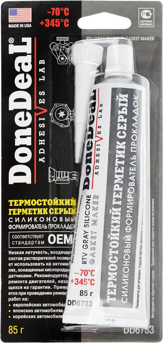 Герметик термостойкий Done Deal, силиконовый, цвет: серый, 85 гDD 6540Термостойкий герметик Done Deal, отличающийся высокой прочностью и эластичностью, применяется для восстановления практически любых узлов двигателя и трансмиссии. Вулканизируется при комнатной температуре. После вулканизации сохраняет эластичность и приобретает водостойкость. Область применения герметика: Применяется для восстановления практически любых узлов двигателя и трансмиссии. Используется при установке: поддона картера двигателя и трансмиссии, клапанной крышки, впускного коллектора, водяной помпы, корпуса термостата, крышек двигателя. Особенности и преимущества герметика:Обладает низкой летучестью. Безопасен для автомобилей, оборудованных кислородными датчиками. Устойчив к действию масла, воды, антифриза, смазочных материалов и охлаждающих жидкостей. Превосходит стандарты ОЕМ (официальные стандарты производителей автомобилей в США). Выдерживает ударные нагрузки, вибрацию и перепады температур. Не теряет эластичности, не высыхает и не растрескивается при высоких температурах. Не приводит к коррозии деталей из стальных, чугунных и алюминиевых сплавов.Термоустойчивость: от -70 °С до +345 °С. Время схватывания: 15 мин. Время отвердевания: 10 - 12 ч. Полная полимеризация: 24 ч. Состав: метил три (МЭК оксимо) силан, винил три (МЭК оксимо) силан, функциональные добавки.