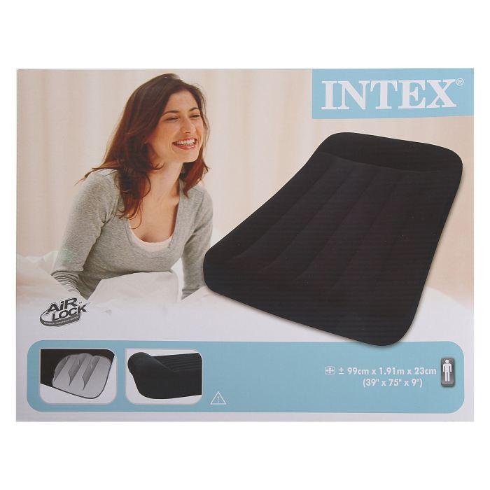 Кровать надувная Intex Pillow Rest Classic 99х191х23 см, цвет: черный. 66767УТ000000388У каждого человека есть любимые занятие, увлечения или хобби. У многих они связаны со спортом и туризмом, кто-то любит проводить время более умиротворенно, например, за настольными играми. Кровать надувная Pillow Rest Classic с подголовником может стать отличным подарком для друзей и близких, который вы можете купить оптом у нас по выгодной цене.Кровать надувная Pillow Rest Classic с подголовником 99х191х23 см 66767