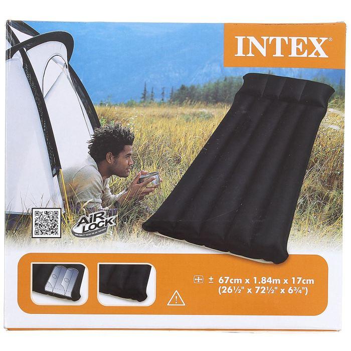 Матрас надувной Intex Camping, цвет: черный, 67 х 184 х 17 см. 6879796114Матрас надувной Camping – прекрасный выбор для тех, кто не хочет отказываться от комфорта даже в походе. Он превосходно сгладит все неровности поверхности, и позволит вам отлично выспаться на свежем воздухе.Данная модель одноместная, это значит, что вес матраса будет минимальным. Плотный ПВХ и технология производства не допустят прокола от небольших камушков или других механических факторов. Размер матраса: 67 х 184 х 17 см.