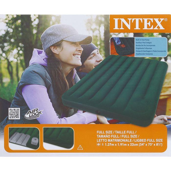 Матрас надувной Intex Downy Full, цвет: зеленый, 137 х 191 х 22 см561622Матрас Intex Downy Full оснащен встроенным ножным насосом. Все что вам нужно - поставить палатку, разложить матрас и накачать его за несколько минут. Осталось только лечь сладко спать, ведь вы теперь не будете чувствовать спиной каждый камушек, холмик или шишечку. Размер данного матраса идеально подойдет для комфортного сна двух человек.Размер матраса: 137 х 191 х 22 см.