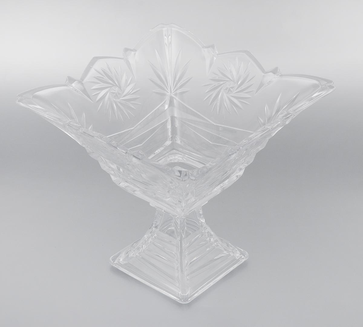 Конфетница на ножке Soga Picasso, 24 х 24 см54 009312Элегантная конфетница Soga Picasso на ножке, изготовленная из прочного стекла, имеет многогранную рельефную поверхность. Конфетница предназначена для красивой сервировки сладостей. Изделие придется по вкусу и ценителям классики, и тем, кто предпочитает утонченность и изящность. Конфетница Soga Picasso украсит сервировку вашего стола и подчеркнет прекрасный вкус хозяина, а также станет отличным подарком.Можно мыть в посудомоечной машине.Размер по верхнему краю: 24 х 24 см.Высота: 21,5 см.