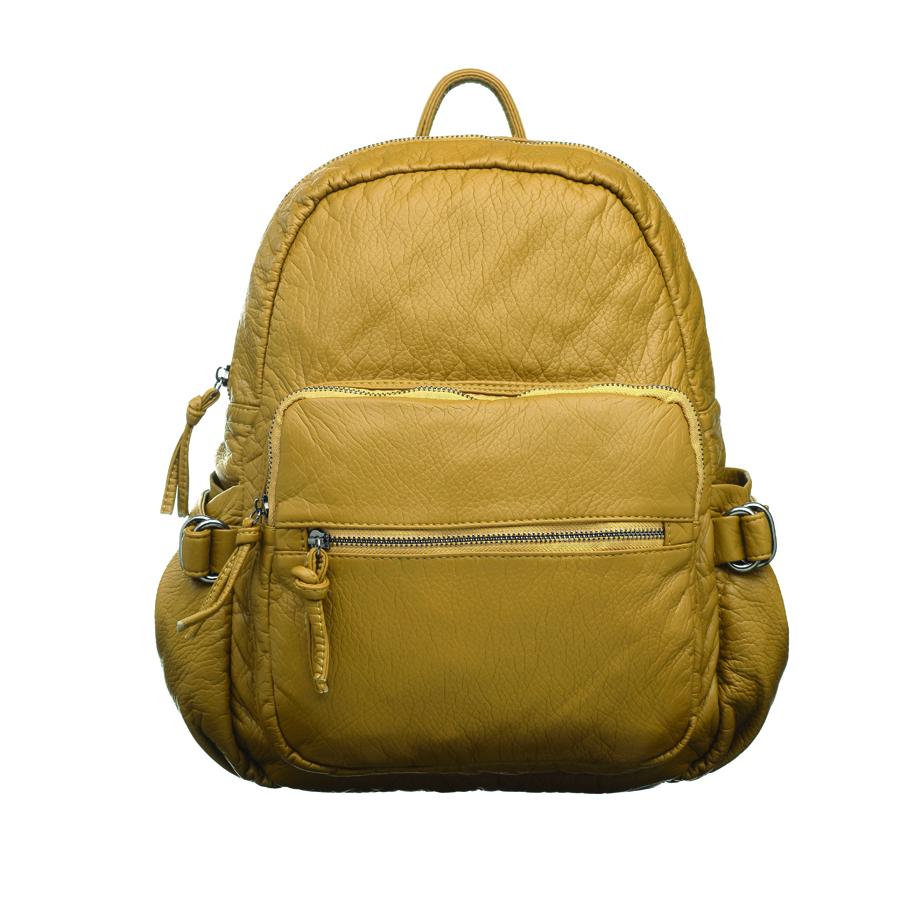 Рюкзак женский OrsOro, цвет: горчичный. D-252/5L39845800Стильный женский рюкзак OrsOro не оставит вас равнодушной благодаря своему дизайну. Он изготовлен из мягкой экокожи зернистой текстуры. На лицевой стороне расположен объемный карман на молнии и вшитый карман на молнии для мелочей. Рюкзак имеет удобные боковые карман, объем которых регулируется с помощью ремешков с пряжками. Изделие закрывается на удобную молнию. Внутри расположено вместительное главное отделение, которое содержит два открытых накладных кармана для телефона и мелочей и один вшитый карман на молнии. Рюкзак оснащен удобными лямками, длину которых можно регулировать с помощью пряжек. Такой рюкзак подчеркнет ваш неповторимый образзаймет достойное место в вашем гардеробе.