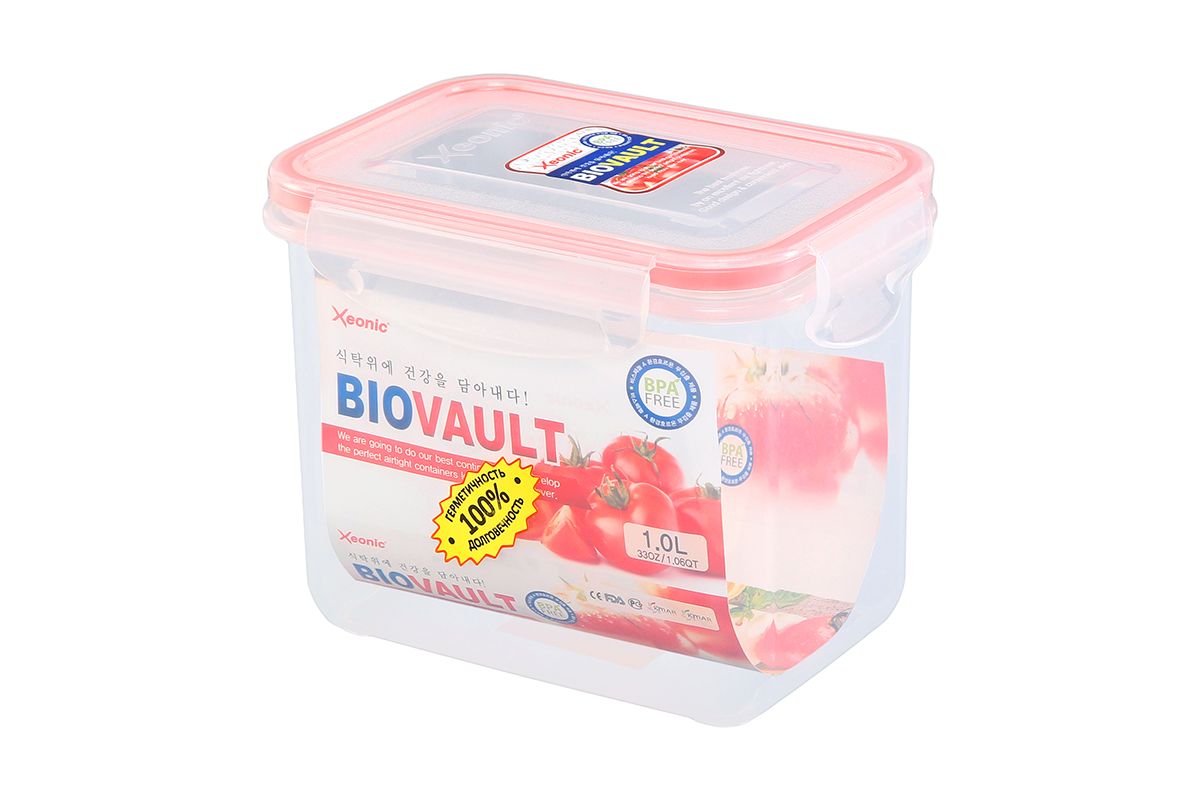 Контейнер пищевой Xeonic, прямоугольный, цвет: прозрачный, красный, 1 л. 810075VT-1520(SR)Пластиковые герметичные контейнеры для хранения продуктов Xeonic произведены из высококачественных материалов, имеют 100% герметичность, термоустойчивы, могут быть использованы в микроволновой печи и в морозильной камере, устойчивы к воздействию масел и жиров, не впитывают запах. Удобны в использовании, долговечны, легко открываются и закрываются, не занимают много места, можно мыть в посудомоечной машине. Размеры контейнера: 14,7 х 10,5 х 11,7 см.