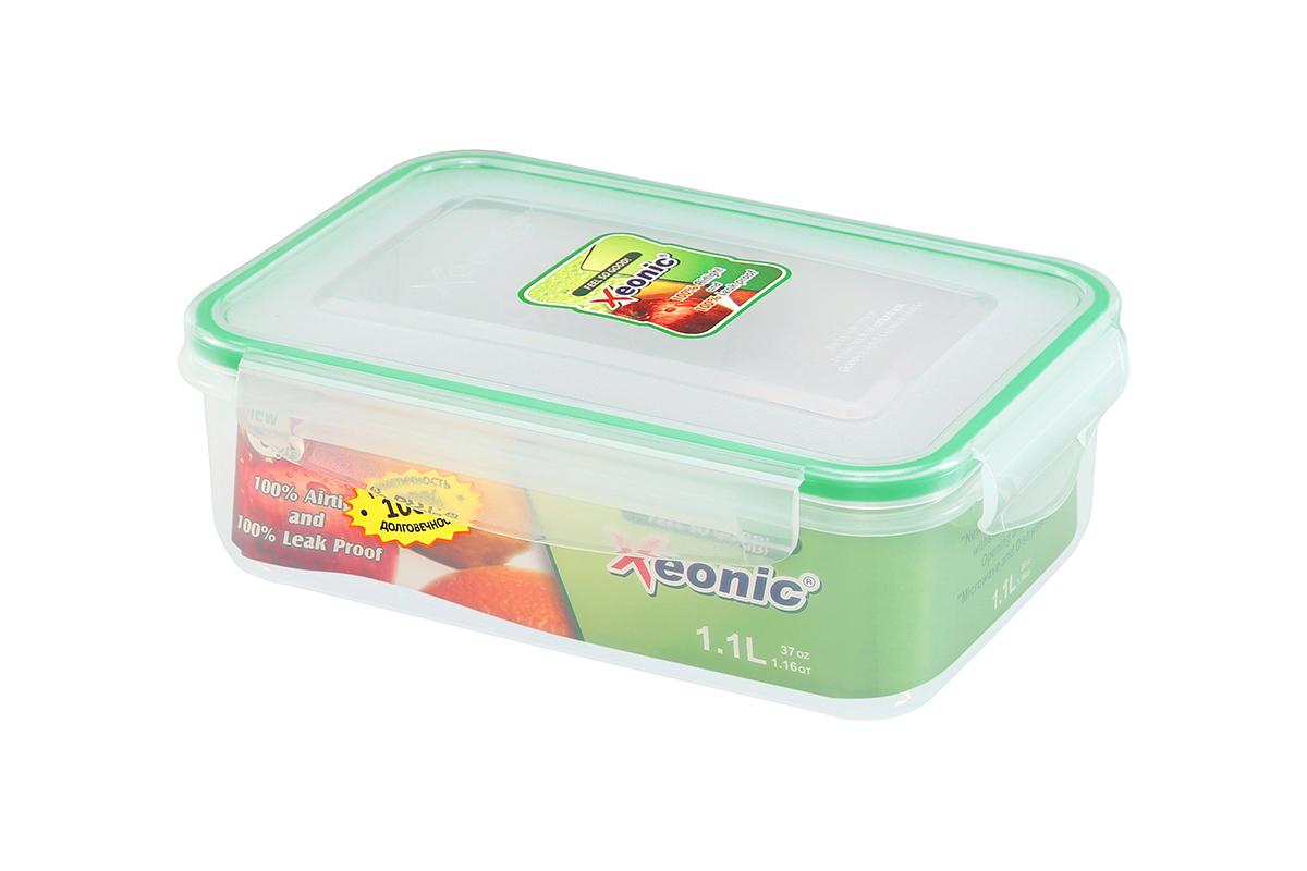Контейнер пищевой Xeonic, прямоугольный, цвет: прозрачный, зеленый, 1,1 л. 810098VT-1520(SR)Пластиковые герметичные контейнеры для хранения продуктов Xeonic произведены из высококачественных материалов, имеют 100% герметичность, термоустойчивы, могут быть использованы в микроволновой печи и в морозильной камере, устойчивы к воздействию масел и жиров, не впитывают запах. Удобны в использовании, долговечны, легко открываются и закрываются, не занимают много места, можно мыть в посудомоечной машине. Размеры контейнера: 20 х 14 х 6,8 см.