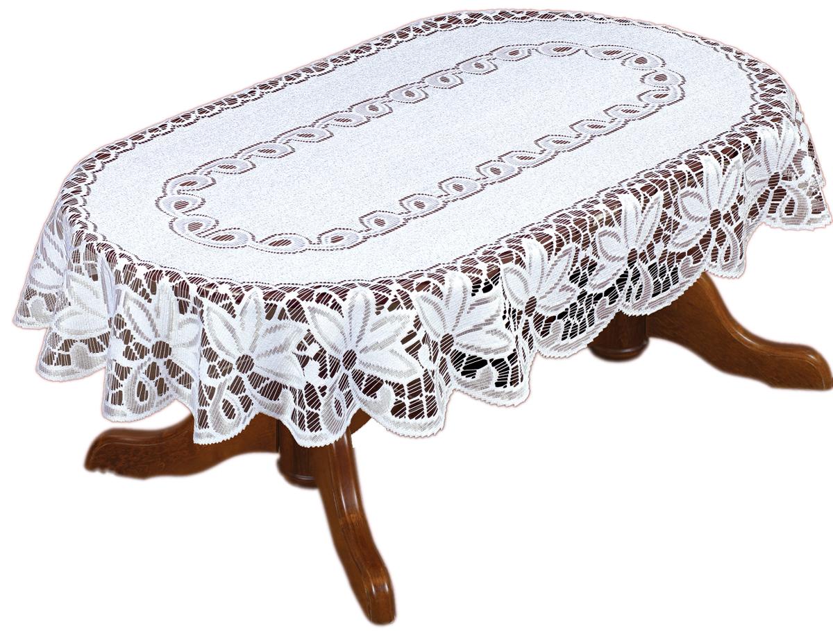 Скатерть Haft, овальная, цвет: белый, 130 х 180 см334ВСкатерть выполнена в европейском стиле, жаккардовое плетение.