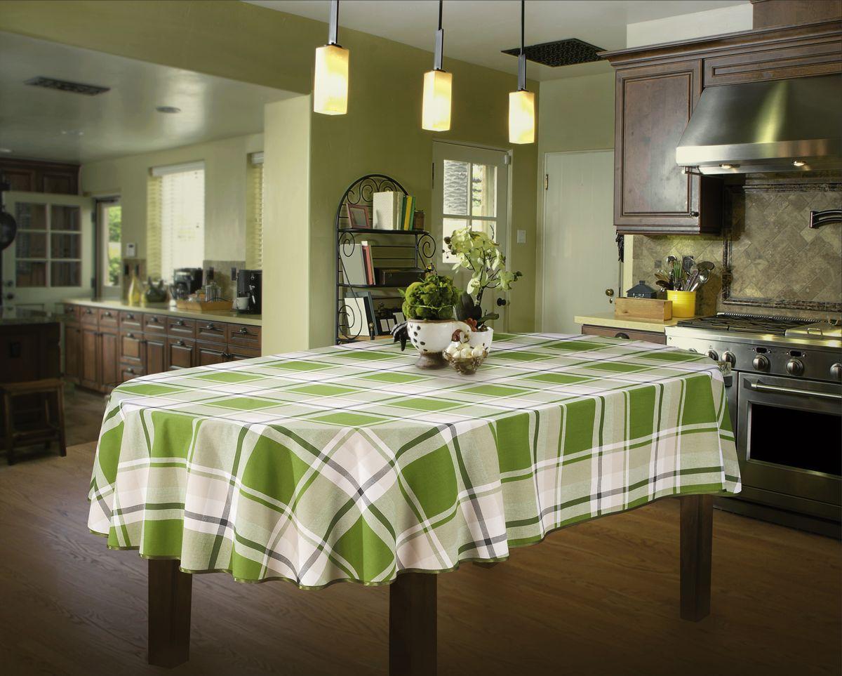 Скатерть Wisan, овальная, цвет: зеленый, 130 х 180 см662074Великолепная овальная скатерть Wisan органично впишется в интерьер любого помещения, а оригинальный дизайн удовлетворит даже самый изысканный вкус. Изделие выполнено из полиэстера и хлопка. Края скатерти закруглены.