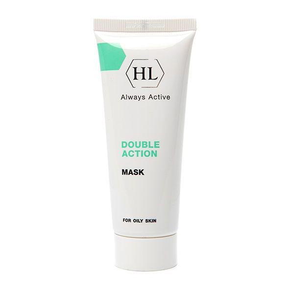 Holy Land Сокращающая маска для лица Double Action Mask, 70 мл110033Сокращающая противовоспалительная маска для жирной и себорейной кожи.Действие:Глубоко очищает кожу, поглощает избытки жировых выделений.Удаляет мертвые клетки эпидермиса, устраняет гиперкератоз.Сокращает поры, регулирует салоотделение.Абсорбирует отделяемое воспалительных элементов, подсушивает поверхностные воспаления.Ускоряет заживление повреждений и ранок на коже.Эффективна при демодекозе.Успокаивает кожу, уменьшает раздражение после чистки.Активные компоненты: Каолин (белая глина) обладает отшелушивающим, подсушивающим и сокращающим действием, абсорбирует загрязнения и излишки кожного жира, стягивает поры, уменьшает раздражение.Коллоидная сера кератолитическое, антибактериальное, ранозаживляющее и обеззараживающее вещество, регулирует деятельность сальных желез, эффективна при жирной себорее, обладает положительным воздействием на кожу, склонную к образованию угрей. Открывает ороговевшие фолликулы и абсорбирует содержимое воспалительных элементов, очищает поры, подсушивает воспаления.Аллантоин смягчает и успокаивает кожу, устраняет шелушение, стимулирует обновление клеток эпидермиса. Подавляет рост бактерий, ускоряет регенеративные процессы и заживление ран, обладает кератолитическим и легким обезболивающим действием. Экстракт ромашки обладает противовоспалительным, успокаивающим и смягчающим действием, уменьшает воспаление, очищает поры, устраняет сухость и шелушение, стимулирует процессы регенерации эпидермиса, ускоряет заживление ран.Каламин порошкообразное вещество минерального происхождения, способствует подсушиванию, стягиванию пор и успокоению кожи. Способ применения: После очищения кожи нанести маску тонким равномерным слоем на проблемные зоны на 20 минут. Тщательно смыть губками с водой и нанести увлажняющее средство. Использовать не чаще 2 раз в неделю.